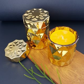Gold Diamond Beeswax Candle